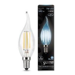 Лампа светодиодная филаментная E14 7W 4100К прозрачная 104801207