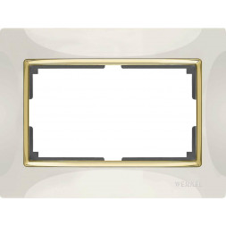 Рамка Snabb для двойной розетки слоновая кость/золото WL03-Frame-01-DBL-ivory/GD 4690389083853