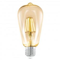 Лампа светодиодная филаментная Eglo E27 4W 2200К янтарь 11521