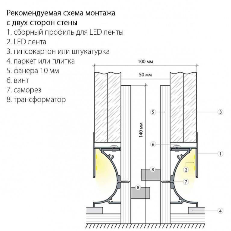 Профиль встраиваемый напольный алюминиевый Elektrostandard 7023259 4690389111150