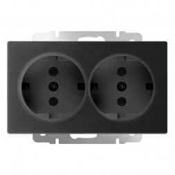Розетка двойная с заземлением черный матовый WL08-SKG-02-IP20 4690389117244