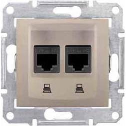 Розетка компьютерная 2хRJ45 Schneider Electric Sedna UTP SDN4400168
