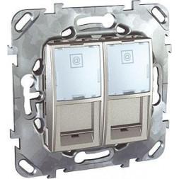 Розетка компьютерная 2хRJ45 Schneider Electric Unica MGU5.2424.30ZD