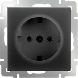 Розетка с заземлением и шторками черный матовый WL08-SKGS-01-IP44 4690389054228