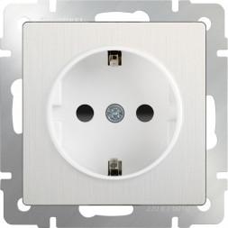 Розетка с заземлением и шторками перламутровый рифленый WL13-SKGS-01-IP44 4690389124341