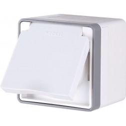 Розетка с заземлением с защитной крышкой и шторками Gallant белая WL15-02-04 4690389102134