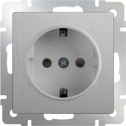 Розетка с заземлением серебряная рифленая WL09-SKG-01-IP20 4690389085079