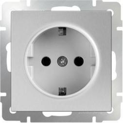Розетка с заземлением серебряный WL06-SKG-01-IP20 4690389053894