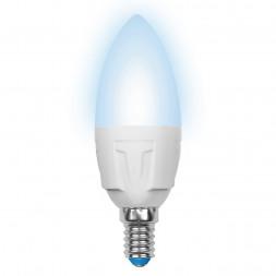 Лампа светодиодная (UL-00000689) E14 6W 4500K матовая LED-C37-6W/NW/E14/FR/DIM PLP01WH