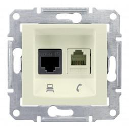 Розетка телефонная RJ-11 и Ethernet RJ-45 Schneider Electric Sedna UTP SDN5100147