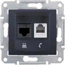 Розетка телефонная RJ-11 и Ethernet RJ-45 Schneider Electric Sedna UTP SDN5100170