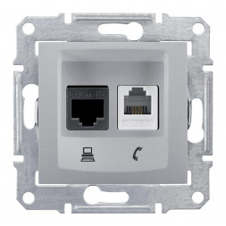 Розетка телефонная RJ-11 и Ethernet RJ-45 Schneider Electric Sedna UTP SDN5200160