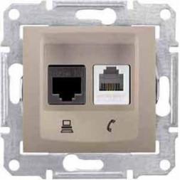 Розетка телефонная RJ-11 и Ethernet RJ-45 Schneider Electric Sedna UTP SDN5200168