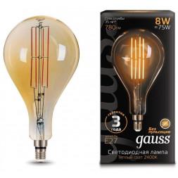 Лампа светодиодная филаментная Gauss E27 8W 2400K золотая 149802008