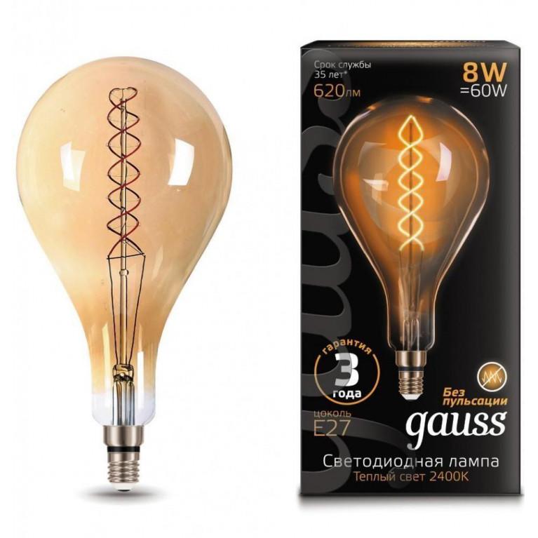 Лампа светодиодная филаментная Gauss E27 8W 2400K золотая 150802008