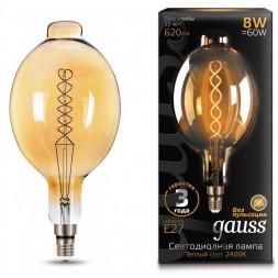 Лампа светодиодная филаментная Gauss E27 8W 2400K золотая 152802008