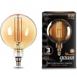 Лампа светодиодная филаментная Gauss E27 8W 2400K золотая 153802008