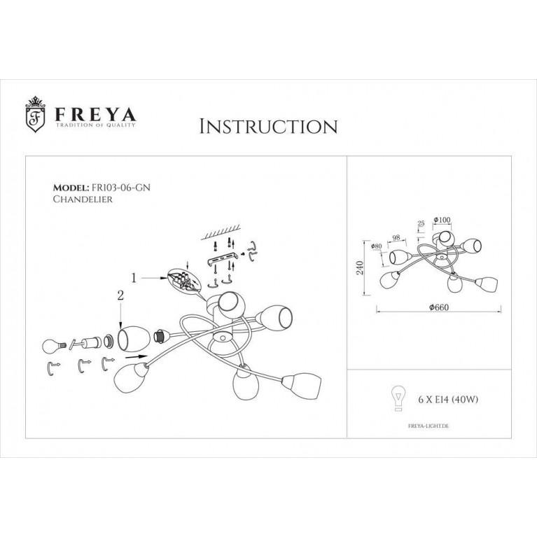 Потолочная люстра Freya Flash FR5103-CL-06-GN
