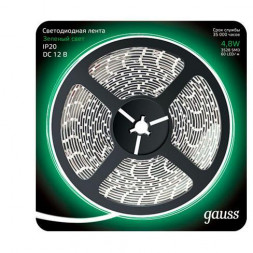 Светодиодная лента Gauss 4,8W/m 60LED/m 2835SMD зеленый 5M 312000605