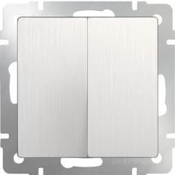 Выключатель двухклавишный проходной перламутровый рифленый WL13-SW-2G-2W 4690389124426
