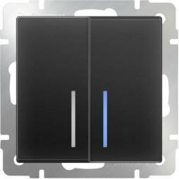 Выключатель двухклавишный проходной с подсветкой черный матовый WL08-SW-2G-2W-LED 4690389054204