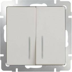 Выключатель двухклавишный проходной с подсветкой слоновая костьWL03-SW-2G-2W-LED-ivory 4690389059278