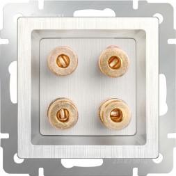 Акустическая розетка х4 перламутровый рифленый WL13-AUDIOx4 4690389124273
