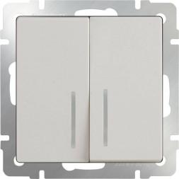 Выключатель двухклавишный проходной с подсветкой слоновая кость WL03-SW-2G-2W-LI-ivory 4690389052620