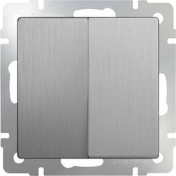 Выключатель двухклавишный проходной серебряный рифленый WL09-SW-2G-2W 4690389085154