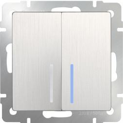 Выключатель двухклавишный с подсветкой перламутровый рифленый WL13-SW-2G-LED 4690389124440