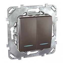 Выключатель двухклавишный с подсветкой Schneider Electric Unica MGU5.0101.12NZD