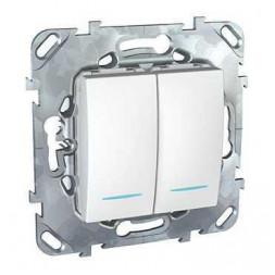 Выключатель двухклавишный с подсветкой Schneider Electric Unica MGU5.0101.18NZD