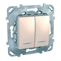 Выключатель двухклавишный с подсветкой Schneider Electric Unica MGU5.0101.25NZD