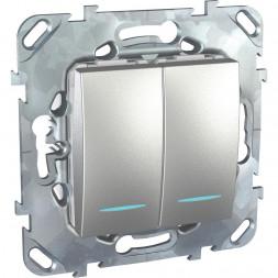 Выключатель двухклавишный с подсветкой Schneider Electric Unica MGU5.0101.30NZD