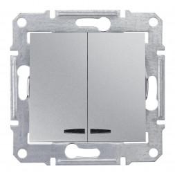 Выключатель двухклавишный с синей подсветкой Schneider Electric Sedna 10A 250V SDN0300360