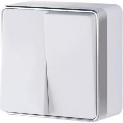 Выключатель двухклавишный влагозащищенный Gallant белый WL15-03-02 4690389102141