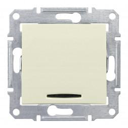 Выключатель кнопочный с синей подсветкой Schneider Electric Sedna 10A 250V SDN1600147