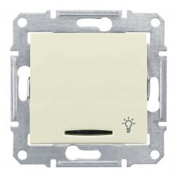 Выключатель кнопочный с синей подсветкой Свет Schneider Electric Sedna 10A 250V SDN1800147