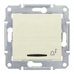 Выключатель кнопочный с синей подсветкой Звонок Schneider Electric Sedna 10A 250V SDN1600447