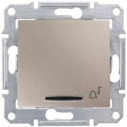 Выключатель кнопочный с синей подсветкой Звонок Schneider Electric Sedna 10A 250V SDN1600468