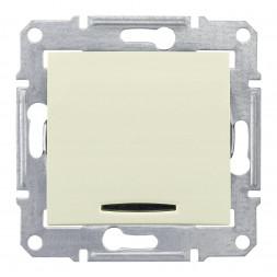 Выключатель одноклавишный 2P с красной подсветкой Schneider Electric Sedna 16A 250V SDN0201247