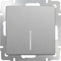 Выключатель одноклавишный проходной с подсветкой серебряный рифленый WL09-SW-1G-2W-LED 4690389085123