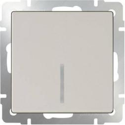 Выключатель одноклавишный проходной с подсветкой слоновая костьWL03-SW-1G-2W-LED-ivory 4690389059254