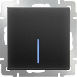Выключатель одноклавишный с подсветкой черный матовый WL08-SW-1G-LED 4690389054174