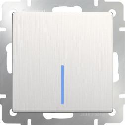 Выключатель одноклавишный с подсветкой перламутровый рифленый WL13-SW-1G-LED 4690389124402