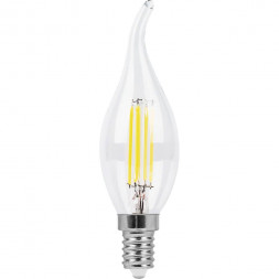 Лампа светодиодная филаментная Feron E14 11W 2700K Свеча на ветру Прозрачная LB-714 38010