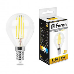 Лампа светодиодная филаментная Feron E14 5W 2700K Шар Прозрачная LB-61 25578