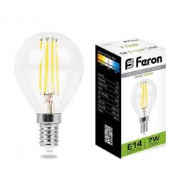 Лампа светодиодная филаментная Feron E14 7W 4000K Шар Прозрачная LB-52 25875