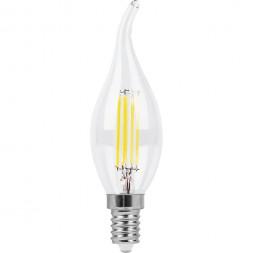 Лампа светодиодная филаментная Feron E14 9W 2700K Свеча на ветру Прозрачная LB-74 25960