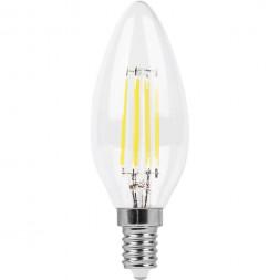 Лампа светодиодная филаментная Feron E14 9W 4000K Свеча Прозрачная LB-73 25958